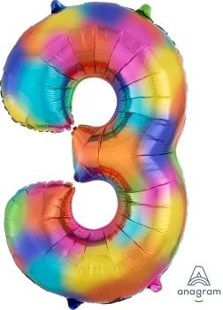 Number 3 Rainbow Splash