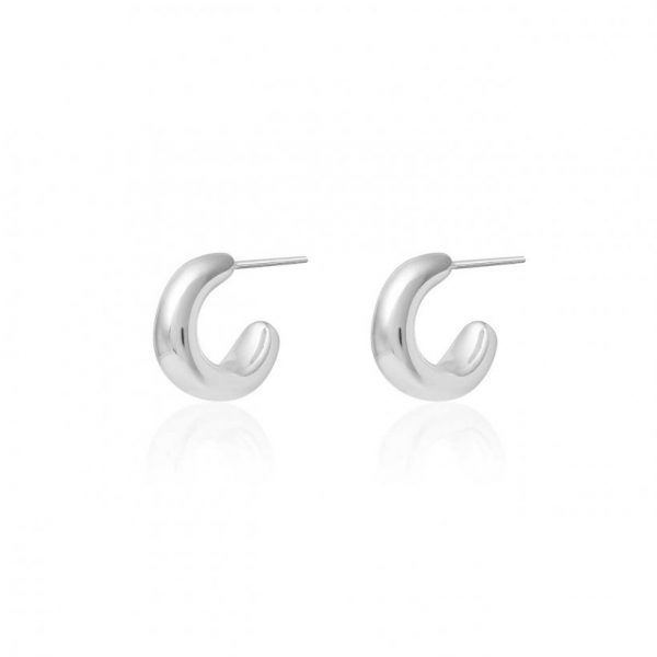 Perfect Pebble Silver Pebble Hoop Huggie Earrings