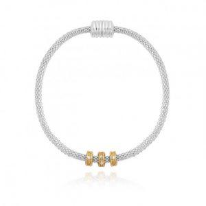 Halo Venetian Chain Pave Charm Two Tone Bracelet