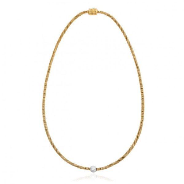 Halo Venetian Chain Bobble Bead Two Tone Necklace