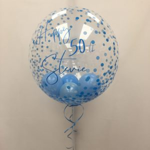 Blue Confetti Deco Bubble With Balloons Inside