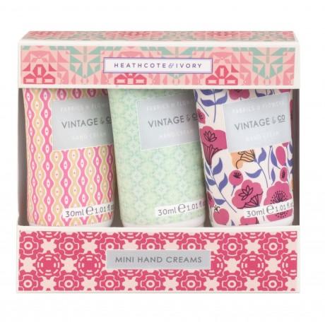 Vintage Fabric Mini Hand Creams 3 X 30ml