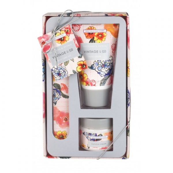 Vin Fabric Nail Care Set (50ml Hand Cream, Emery Board, 38ml Cuticle Cream)