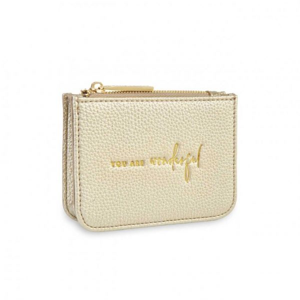 Stylish Structured Coin Purse - You Are Wonderful - Gold