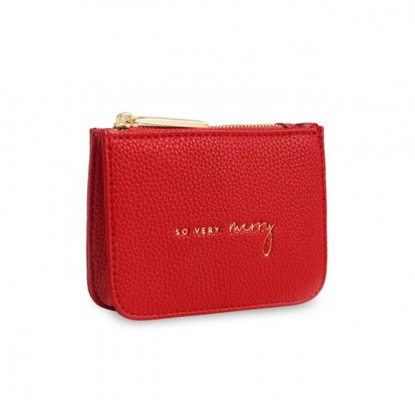 Stylish Structured Coin Purse - So Very Merry - Red