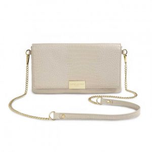 Celine Faux Croc Fold Over Crossbody - Stone
