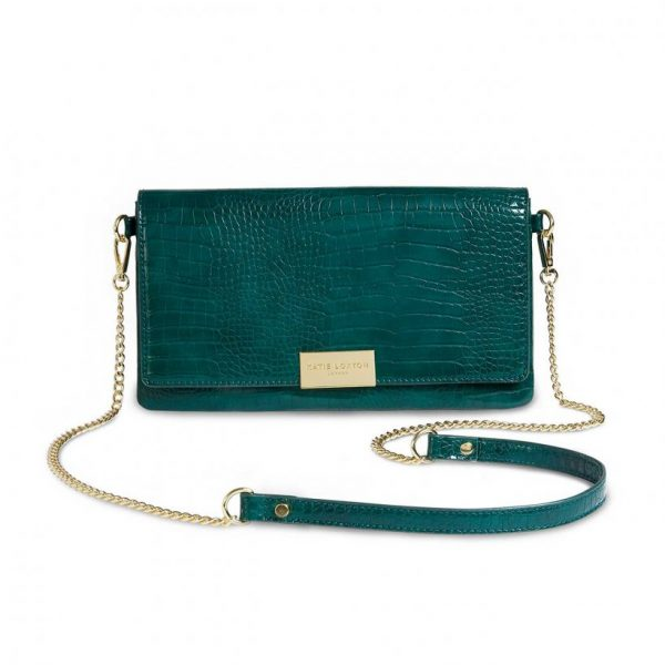 Celine Faux Croc Fold Over Crossbody - Forest Green