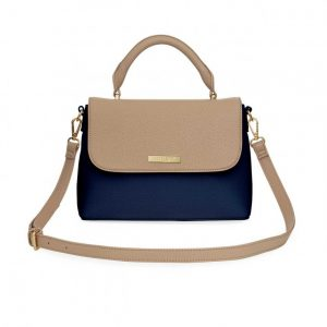 Talia Two Tone Messenger Bag - Navy & Caramel