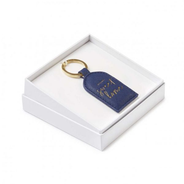 Beautifully Boxed Sentment Keyring - Home Sweet Home - Navy