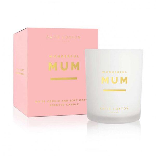Sentiment Candle - Wonderful Mum - White Orchid & Soft Cotton