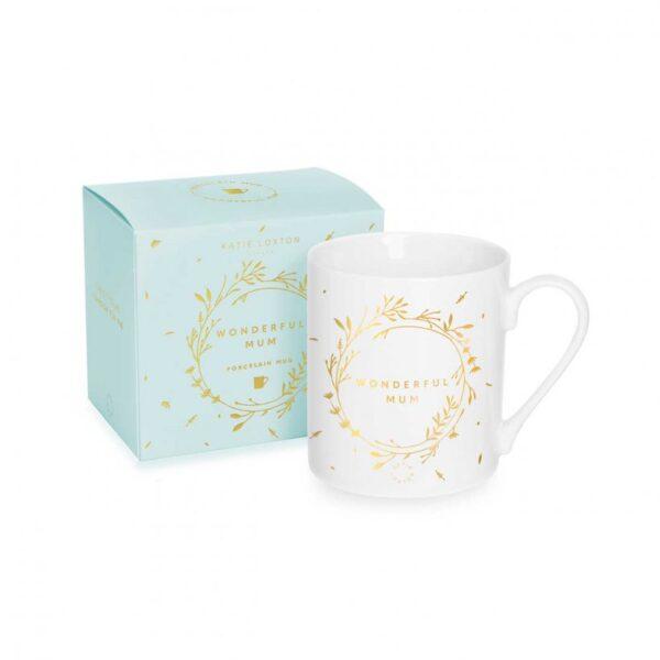 Porcelain Mug - Wonderful Mum - White & Gold