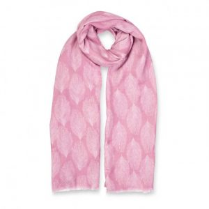 Printed Scarf - Peacock Feather Print - Dusty Pink & White