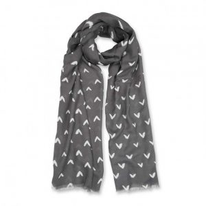 Printed Scarf - Small Heart Print - Charcoal Grey & White