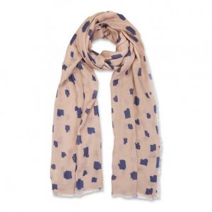 Printed Scarf - Abstract Block Print - Navy