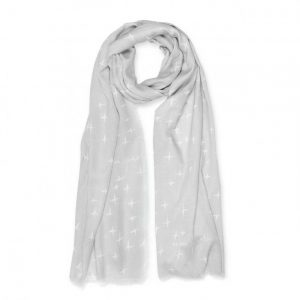 Sentiment Scarf - Be The Sparkle - White & Pale Grey