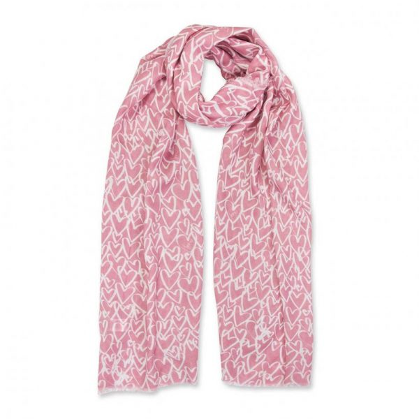 Sentiment Scarf - Love Love Love - White & Dusty Pink