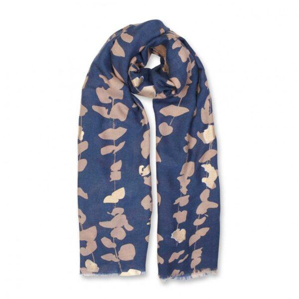 Metallic Scarf - Floral Vine Print - Navy